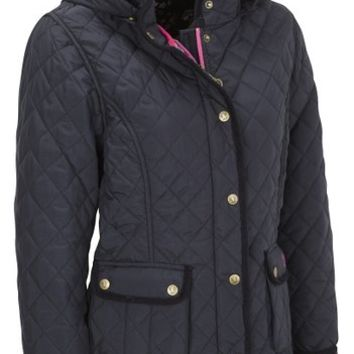 VEDONEIRE Womens Quilted Jacket (5038) Navy blue padded coat (M (up to 38 inch chest))