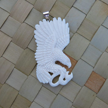 Eagle bone carved catch a snake Pendant for necklace,  unique handmade bone carvings jewelry from Bali