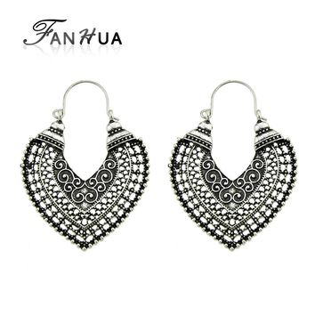 FANHUA Antique Gold Silver Color Hollow out Metal Heart Hoop Earrings Ethnic Jewelry Indian Earrings for Women Accessories