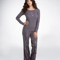 HUE Cozy Up Flamingo Thermal Knit Pajama Set Sleepwear PJ41604 at BareNecessities.com
