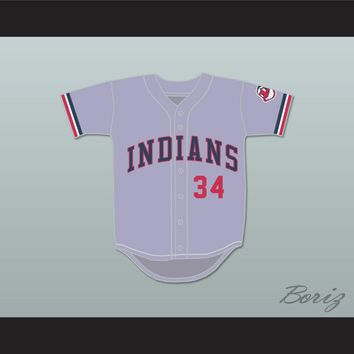 Lou Brown 34 Gray Baseball Jersey Major League