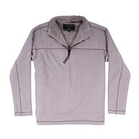 Bonded Polar Fleece & Sherpa Lined 1/4 Zip Pullover with Pockets in Faded Heather by True Grit - FINAL SALE