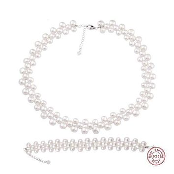 Baroque Freshwater Pearl Jewelry Necklace Bracelet Set