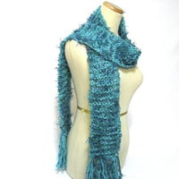 Turquoise Hand Knit Scarf