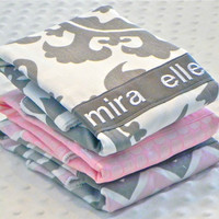 Personalized Burp Cloth Set - Baby Girl Light Pink and Gray Suzani Chevron and Iridescent Polka Dot