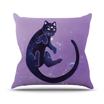 "KESS Original ""Cosmic Kitten"" Celestial Animal Outdoor Throw Pillow"