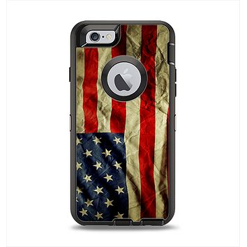The Dark Wrinkled American Flag Apple iPhone 6 Otterbox Defender Case Skin Set