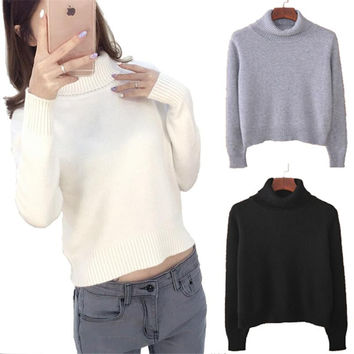 Cashmere Knitted Sweater Crop Top Pullover Turtleneck Crop Sweater Womens Jumpers Croped Feminino Jersey Mujer