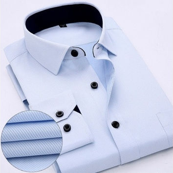 New Fashion Classic Shirts Men Black Collar White Striped Dress Shirts Long Sleeve Turn-down Collar Regular-Fit Men's Shirts Designer Clothes WF304 [9324871748]