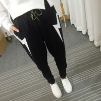 Black Drawstring Lightning Print Jogger Pants