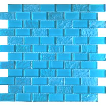 Aqua Blue 1X2 Glass tile