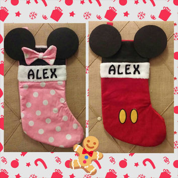 Personalized Mickey or Minnie Mouse Stocking - Christmas -  Stocking -  Disney - Kids Stocking - Family