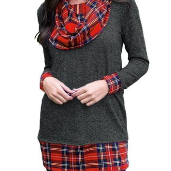 Black Plaid Print Buffalo Cowl Neck Christmas Casual T-Shirt
