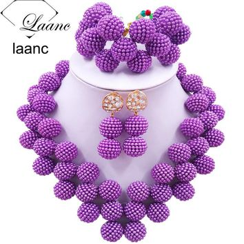 Laanc Latest Purple African Jewelry Set for Women Nigerian Wedding Beads Necklace and Earrings JXZ006