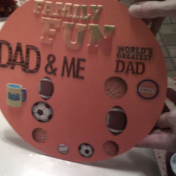 Scrapbooked Fathers Day Photo Picture Frame on wood plaque with embellishments Gift for dad Display a Pic of son or daughter with Daddy