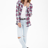 FOREVER 21 Tartan Plaid Western Shirt Cream/Coral Large