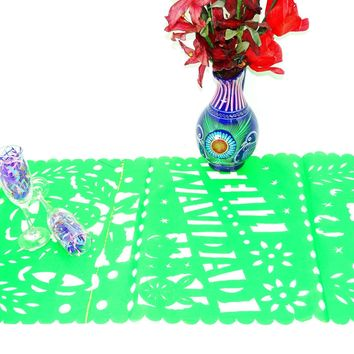 Feliz Navidad, Mexican Christmas Decor, Green Table Runner, Holiday Decorations, Holiday Party Decor, Fiestas Navideñas