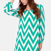 Zag Along Teal and Ivory Striped Dress