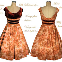 Exquisite Vintage 50s Dress newly made from New/Old stock Peach Cotton/Rayon...Silk Velvet... Vintage Glass buttons... Fully lined...OOAK...