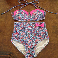 High waisted floral bathing suit for smaller figure. by KLCandles