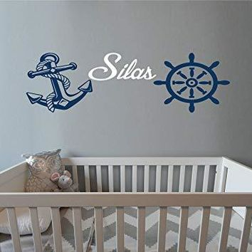 Nursery Boys Room Anchor Nautical Theme Ships Wheel Vinyl Wall Art Sticker Decal Graphic Home Decor