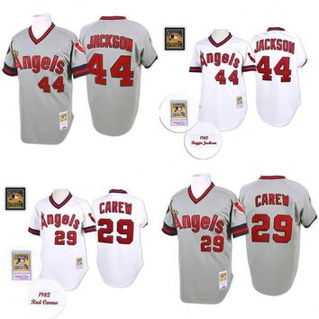 Grey 1985 Throwback 29 Rod Carew 44 Reggie Jackson Authentic Jersey , Men's Mitchell And Ness Los Angeles Angels Of Anaheim