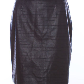 VALENTINO BOUTIQUE Black Top Stitched Leather Skirt Size 10