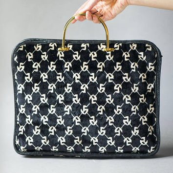 Vintage velour bag black white geometric pattern. Feminine Briefcase Laptop Fit. Ladies Plush Handbag gold shade metal handles 90s fashion