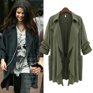 Roll up Sleeve  Asymmetric Trench Coat