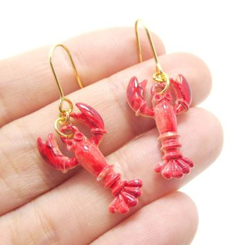 Lobster Crayfish Shaped Dangle Earrings in Red | Animal Jewelry