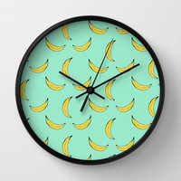 Blue Banana's Wall Clock by Allyson Johnson