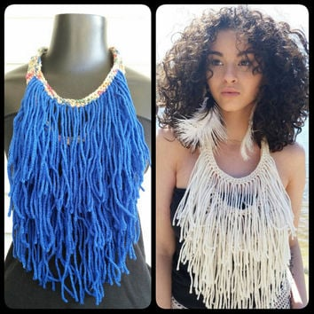 Fringe Necklace, Statement Necklace, Hippie Necklace, Tribal, Fringe, Boho Necklace, Tassle Necklace, Bohemian Necklace, Brown and Blue