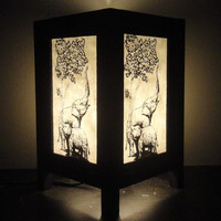 Asian Oriental Thai Family Elephant Bedside Table Lamp Wood Paper Light Shades Gift Furniture Home Decor