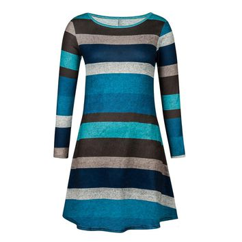 Ladies Long Sleeve Striped Dress