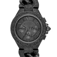 Michael Kors Women's Chronograph Camille Glitz Black-Tone Stainless Steel Bracelet Watch 43mm MK3249