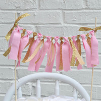 Gold Glitter Cake Banner - cake topper - pink and gold cake topper - First Birthday Cake Topper - Cake Bunting - Cake Banner - gold party