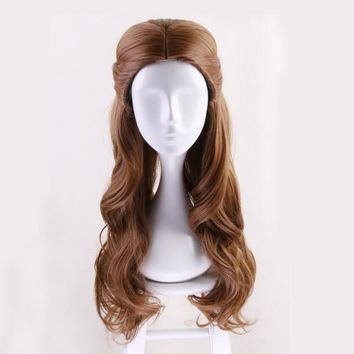 Cool Top Beauty and the Beast Princess Belle wig Cosplay Costume Women Long Wavy Synthetic Hair Halloween Party Role Play wigsAT_93_12