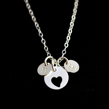 Personalized Love Necklace, Two Initial Disc Necklace, Double Initial Necklace, Silver Heart Necklace, Sister Necklace, Forever