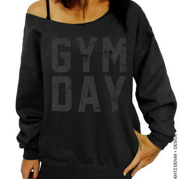 Gym Day - Black with Black Slouchy Oversized Sweatshirt