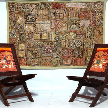 vintage sari patchwork tapestry  handmade antique decorative tapestry  antique tribal wallhanging vintage sari patchwork sofa cover