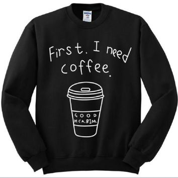 PEAPJ1A [First i need coffee] personalized womens letter sweater