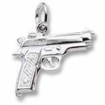 Pistol Charm In Sterling Silver