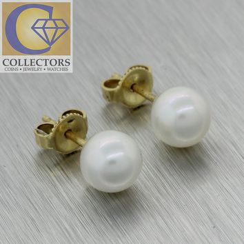 Authentic Mikimoto 18k Yellow Gold AAA 7mm Akoya Cultured Pearl Stud Earrings