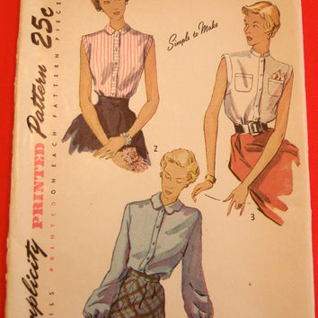 1940s Blouse Pattern Simplicity 3092 Sz14 Bust 32 Bishop Sleeves Tailored Dart-Fitted