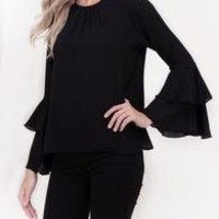 Woven Bell Sleeve Top