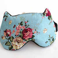 Bow Eye mask, Sleep mask, eye sleep mask, Kitty eye mask, Cat eye mask, Kitty sleep mask-Rose.