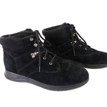 Ankle Boots Suede Leather Lace up Knit Cuff Weatherproof B.A. Sport Women Bootie Size 7.5W