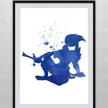 Yasuo from League of Legends Watercolor Painting Print, Archival Fine Art, Home Wall Decor, Giclee Print, Kid's Room Decor