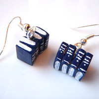 Blue Miniature Book Earrings by Coryographies by Coryographies