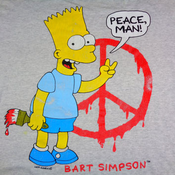 20% OFF Vintage Rare 90s Bart Simpson Peace Man T-Shirt